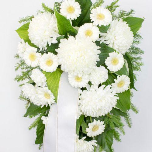 Leinakimp valgete krüsanteemidega - Kolm Lille lillepood